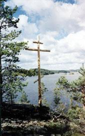 Поклонный крест на месте монастыря на о. Каннансаари.