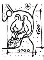 ниша для ночлега сидя (сооружается при милой толщине снега или при недостатке времени)