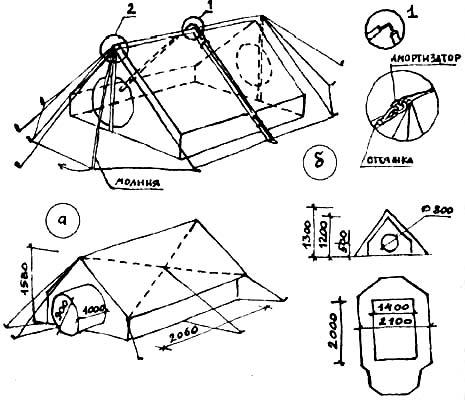 """""""Высотные"""" двускатные и двухслойные палатки: а) 1-я конструкция, внутренняя часть; б) 2-я конструкция"""