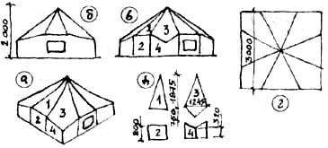 Восьмигранный шатер на квадратном основании: а) общий вид; б) вид со стороны входа; в) вид с угла; г) вид сверху; д) раскрой скатов (1, 3) и стенок (2, 4).