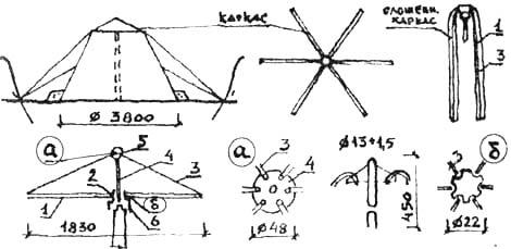 Полукаркасная палатка: а) звездочка верхняя; б) муфта. 1. Радиальные трубки. 2. Сочленение с муфтой. 3. Радиальные наклонные раскосы из репшнура. 4. Вертикальная стойки. 5. Фланец (а). 6. Переходная муфта.