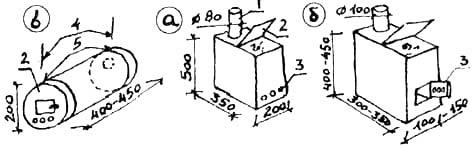 Рис. 50. Конструкции печек для обогрева: а), б) неразборные с вертикальной загрузкой дров; в) разборная 1. Труба. 2. Крышка. 3. Поддувало, дверца