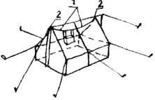 Подвеска обогревательной печки в палатке. 1. Трос, к которому подвешена печка. 2. Кольцо в торце конька