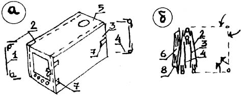 Складная обогревательная печка: а) общий вид; б) печка в сложенном виде.