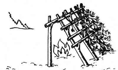 Капитальный навес-отражатель сооружается из жердин, веток и елового лапник